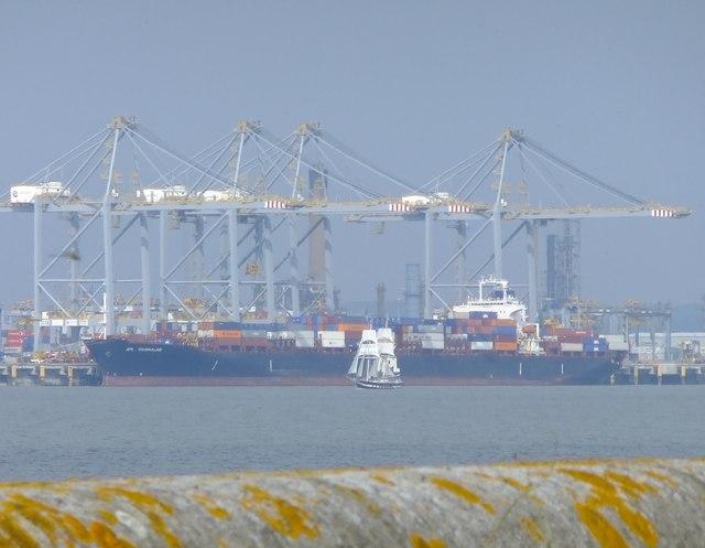 Tall ship, container ship