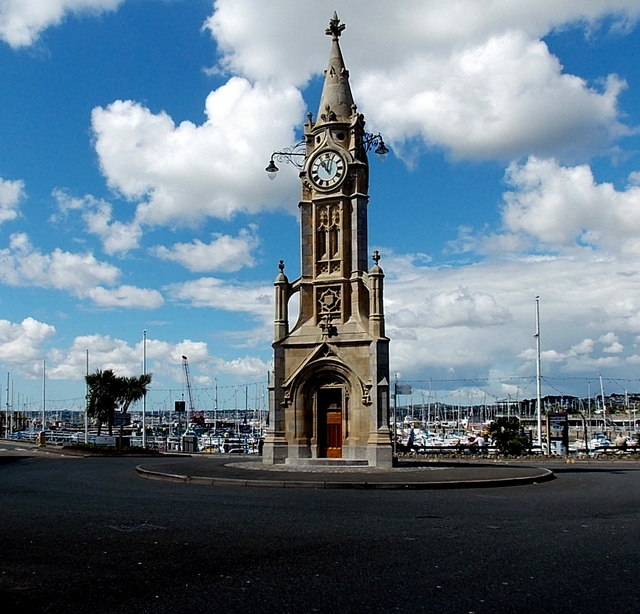 Edwardian clock tower in The Strand, Torquay