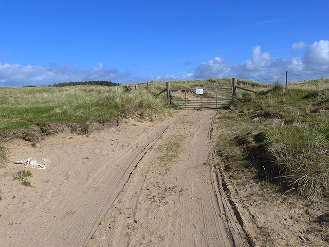 Gate onto the dunes on the Laggan estate