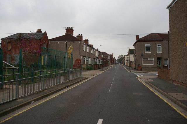 Sixhills Street towards Edwards Street, Grimsby