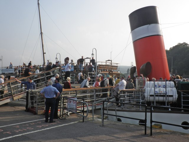 Passengers board the 'Waverley' at Minehead