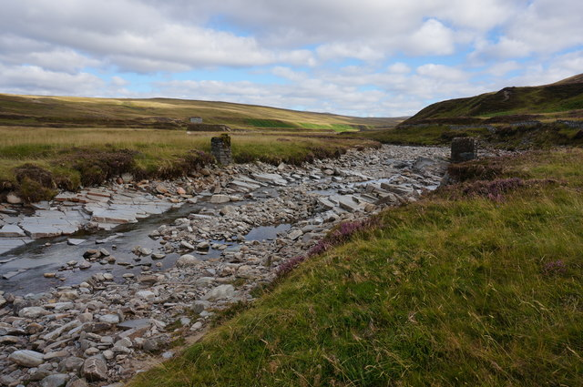 Remains of a footbridge over the Bruar Water