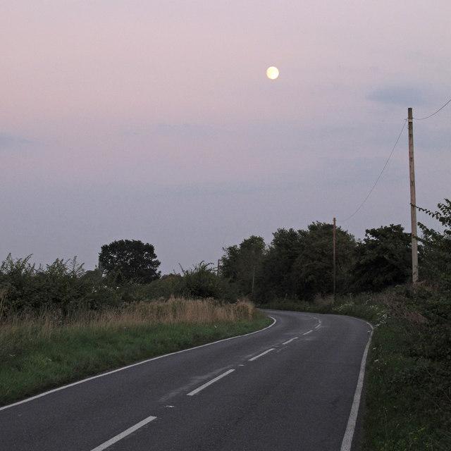 Moon over Barnhall Road, Tolleshunt Knights \\ Salcott