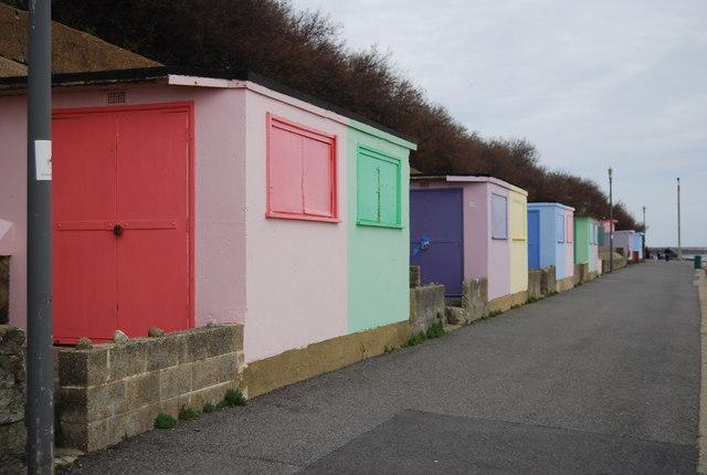 Multi-coloured beach huts