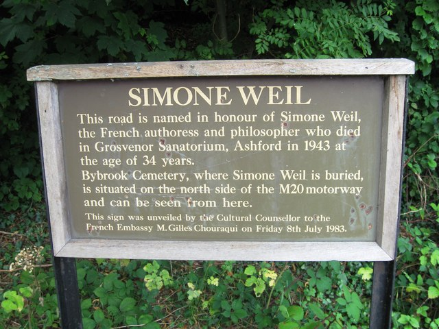 Simone Weil commemorative sign