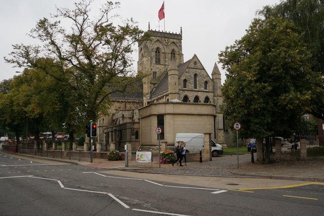 Grimsby Minster from Bethlehem Street, Grimsby