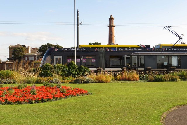 Blackpool tram by North Euston Garden
