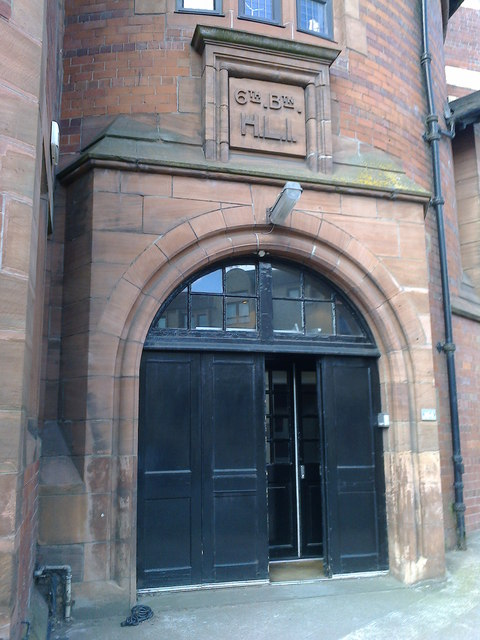 The sign above the door refers to the 6th Battalion, Highland Light Infantry
