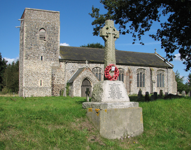 All Saints church and war memorial, Skeyton