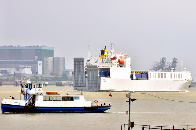 Two ferries pass - between Tilbury and Gravesend - The 'Duchess' Gravesend Ferry and the 'Undine' - Ro-Ro Cargo Ferry