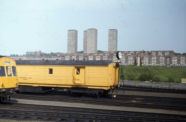 Rolling stock at Springburn, with Red Road Flats in the background