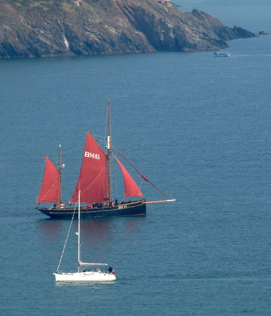 Pilgrim and a yacht off Dartmouth