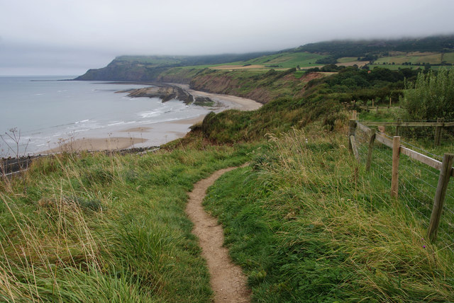 Coastal path getting near to Stoupe Beck