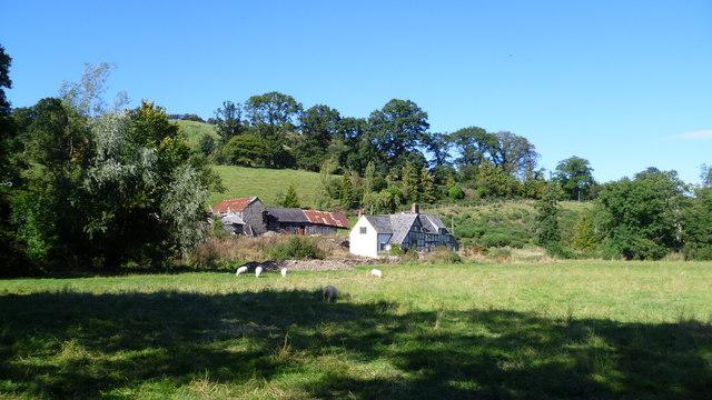 Old timber-framed farm beside Offa's Dyke Path near Newcastle, Shrops