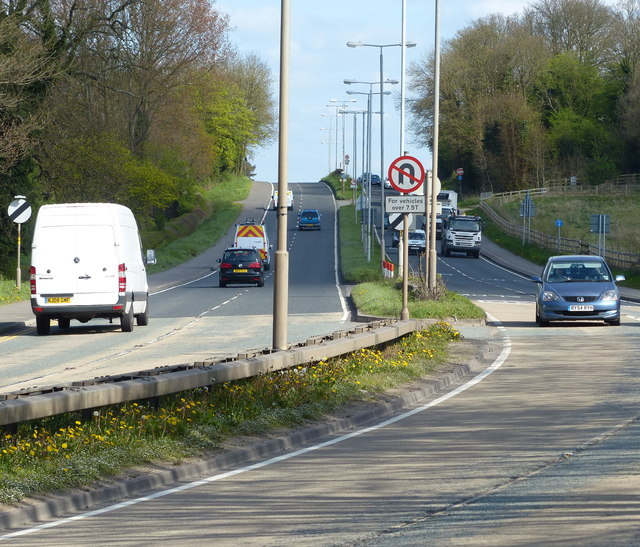The A50 Markfield Road in Groby