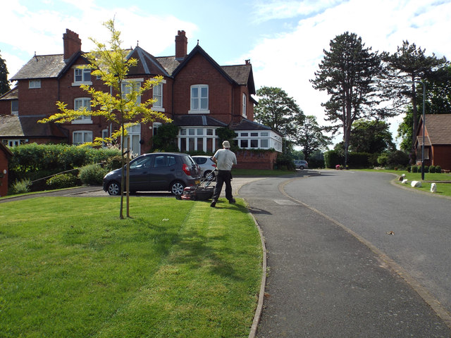 Contractors mow the grass, Holioake Drive, Warwick