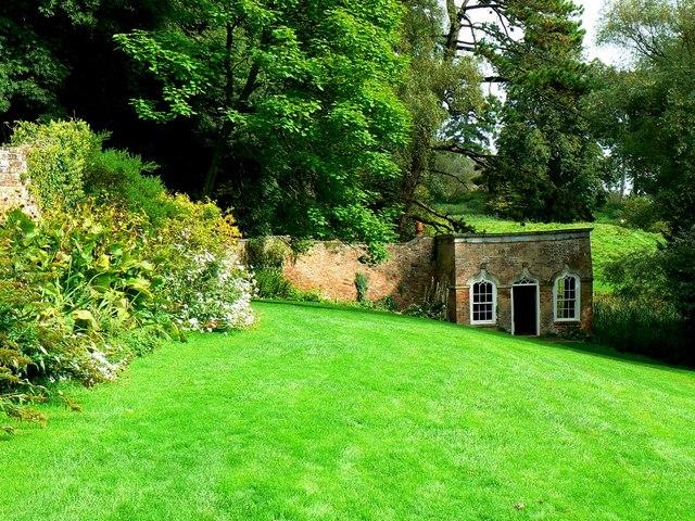 Garden and summerhouse, Newark Park, Ozleworth, Gloucestershire