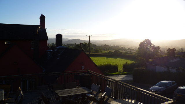 View from the decking area behind the Jolly Frog near Leintwardine on a summer evening