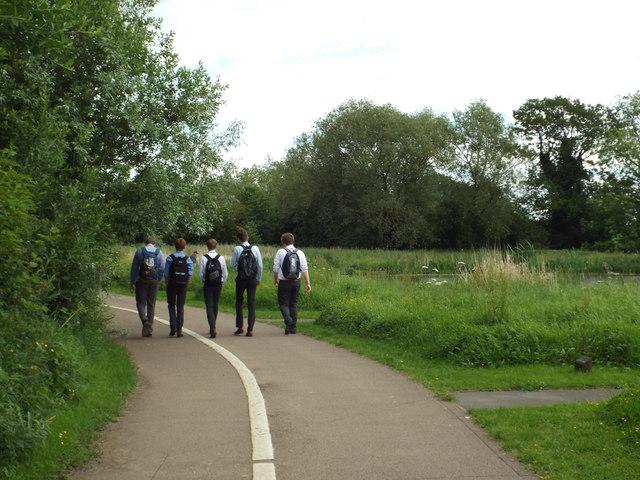 Five lads walk home from school through Myton Fields, Warwick