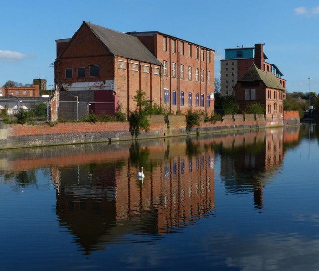 Former factories at Black Friars along the River Soar