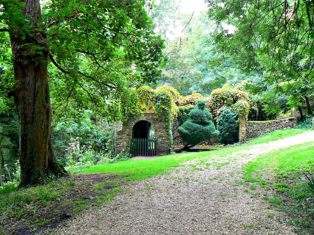 Sham castle and path, Newark Park, Ozleworth, Gloucestershire