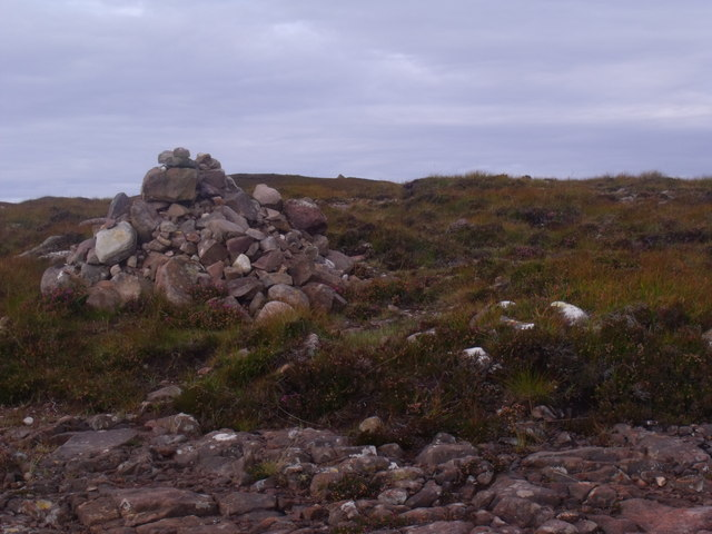 Cairn at summit of peat track on Cnoc Scoraig near Ullapool