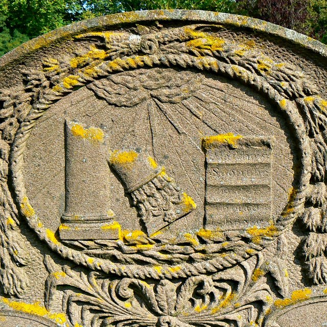 Gravestone detail, Church of St Cyriac, Lacock, Wiltshire