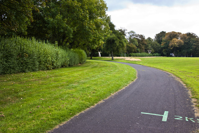 The 2K mark on the circumference path at Walton Hall Park