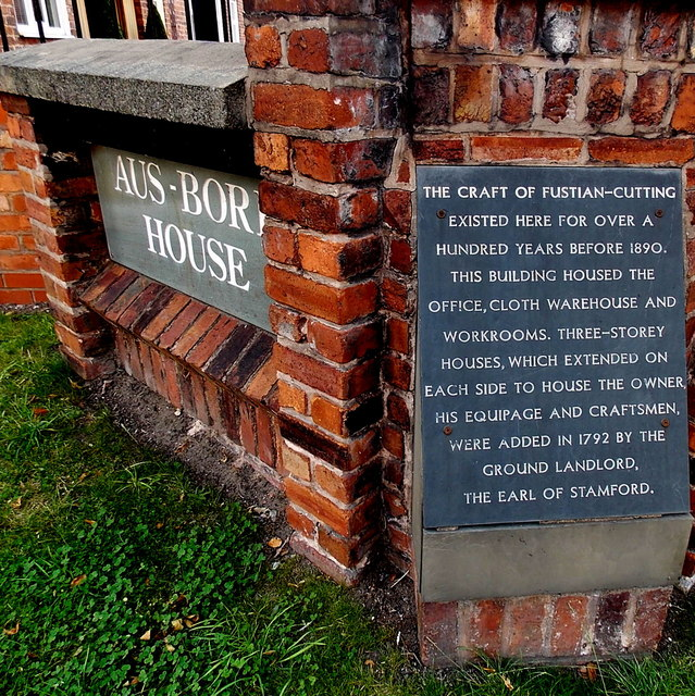 Fustian-cutting plaque outside Aus-Bore House in Wilmslow