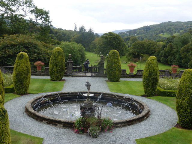 The formal gardens at Rydal Hall