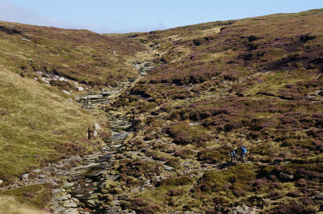 Walkers approaching Crowden Brook