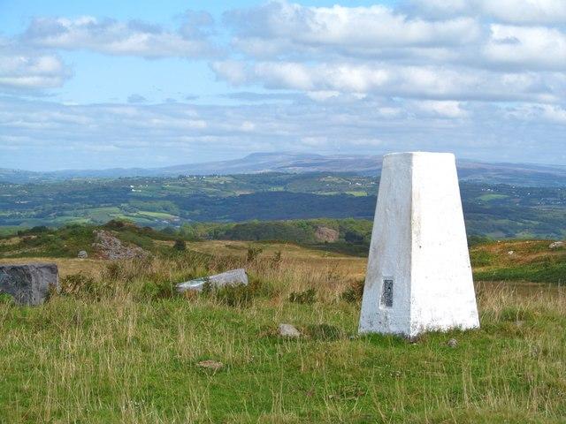 OS trig point on Mynydd Llangynderyn