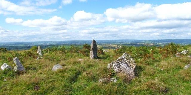 Stone circle on Mynydd Llangyndeyrin