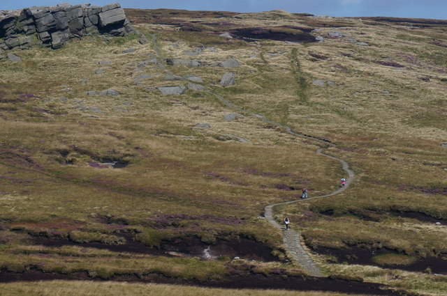 Three walkers heading for Kinder Low
