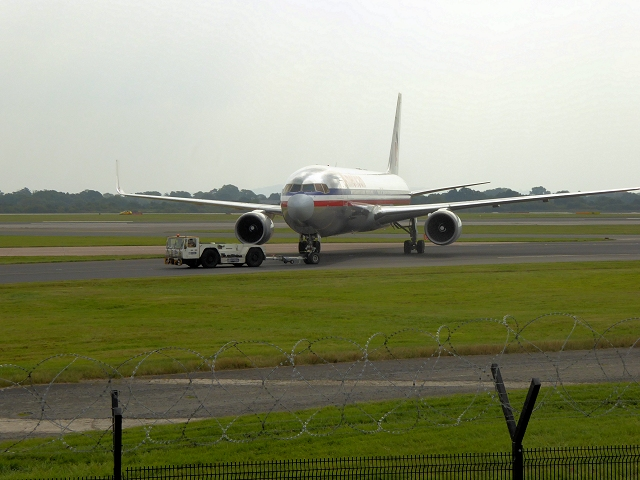 Boeing 767 at Manchester Airport