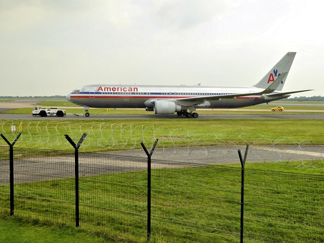 American Airlines Boeing 767 at Manchester Airport