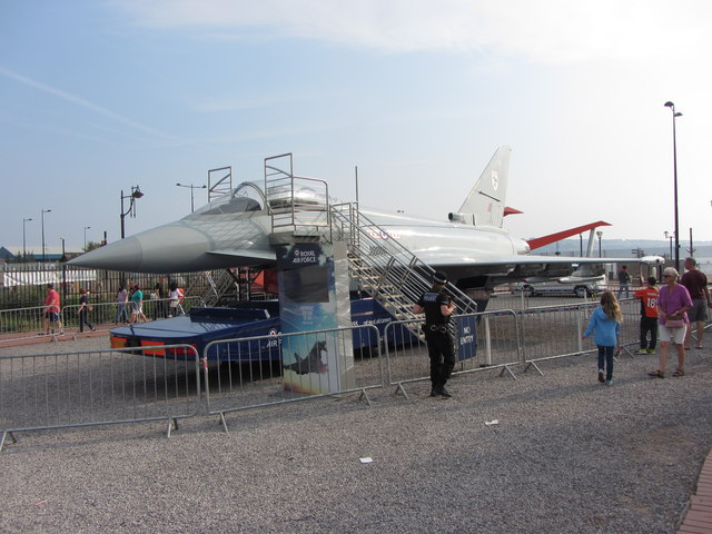 Replica RAF aircraft in Cardiff Bay