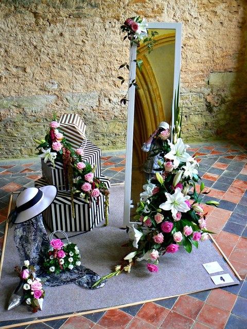 Floral art exhibit, Lacock Abbey, Lacock, Wiltshire