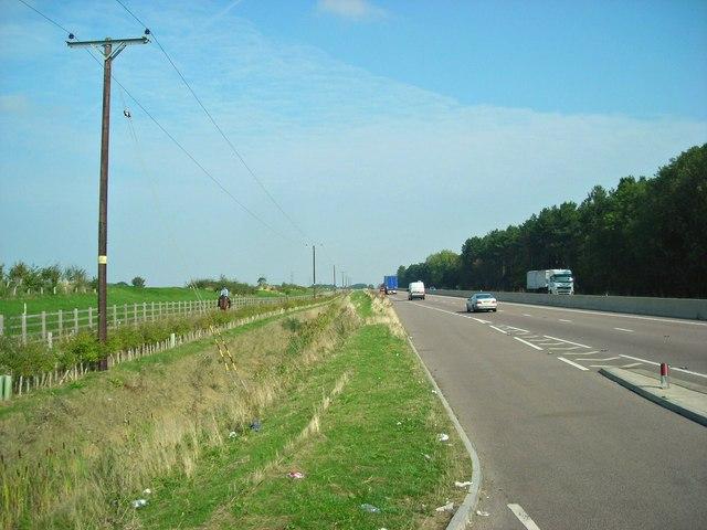 Bridleway, ditch, A46