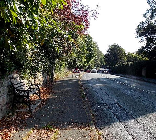 Bench near roadworks in Alderley Edge