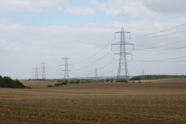 Pylons near Hirsel Law