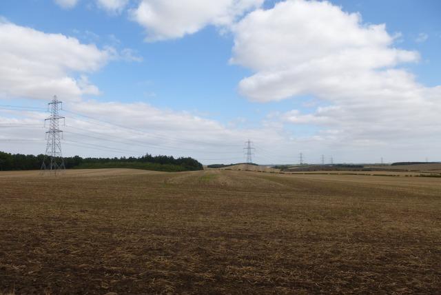 Pylons over farmland