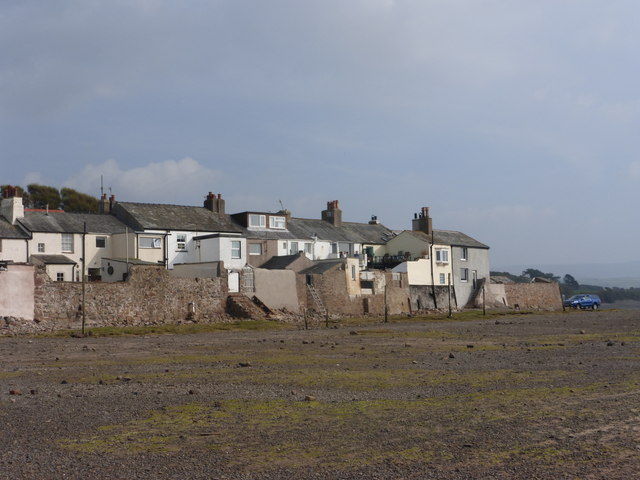 Cottages and sea wall at Ravenglass