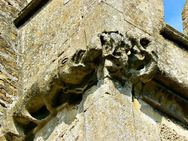 Grotesque scenario, Church of St Cyriac, Lacock, Wiltshire