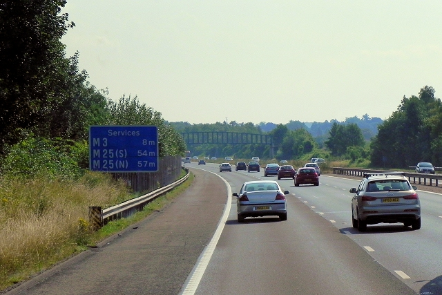 Eastbound M3 near Basingstoke