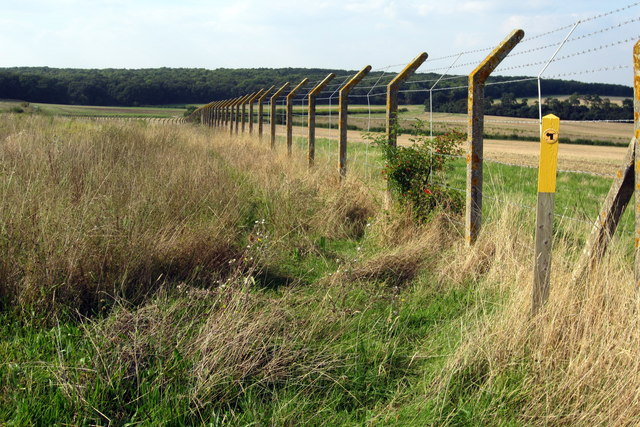 Footpath by the barbed wire fence