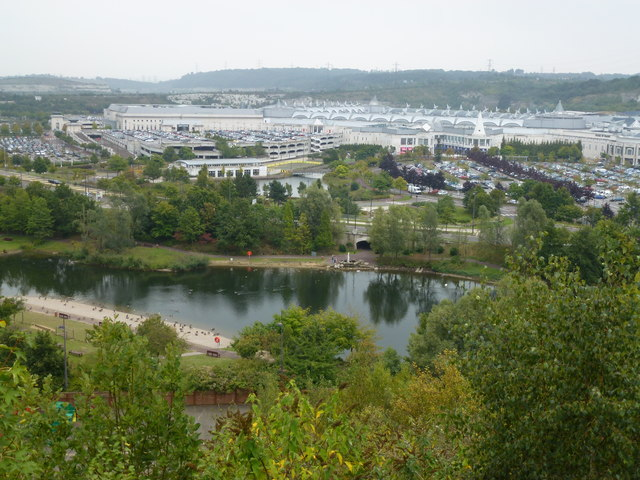 Bluewater Shopping Centre from the old quarry edge