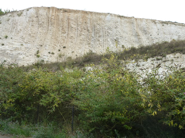 Chalk workings in the former quarry at Bluewater
