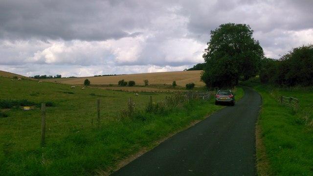 Road dips as it crosses Haver Dale