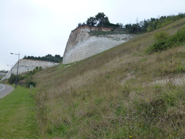 Landscaped former quarry at Bluewater, Kent